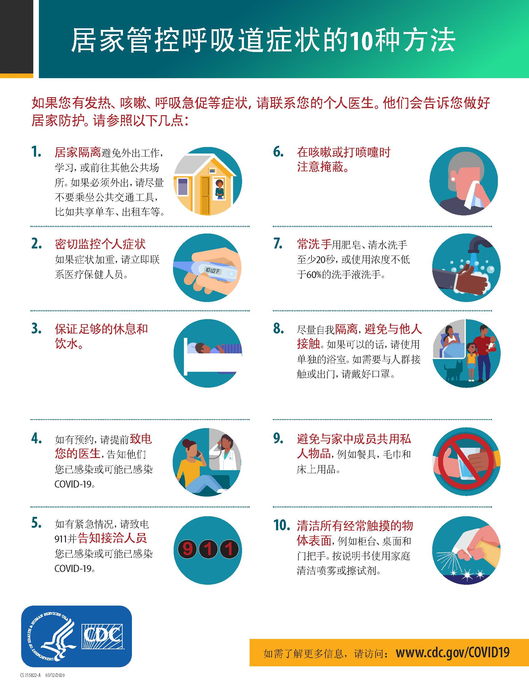 10 Ways to Manage Respiratory Symptoms at Home (Chinese)