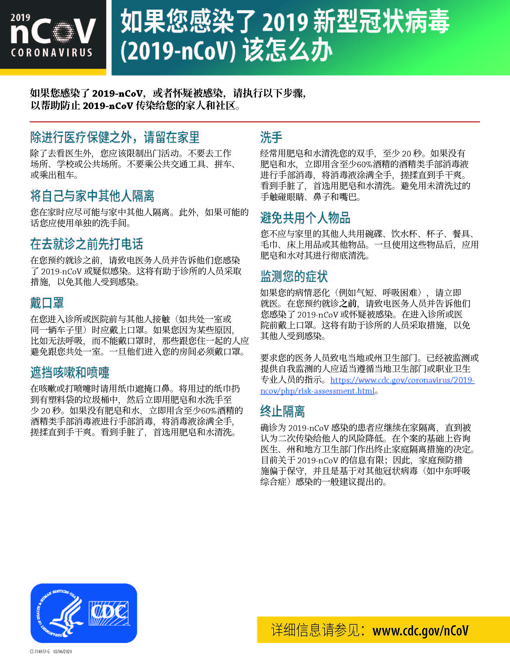 Sick with 2019 nCoV Fact Sheet (Chinese)